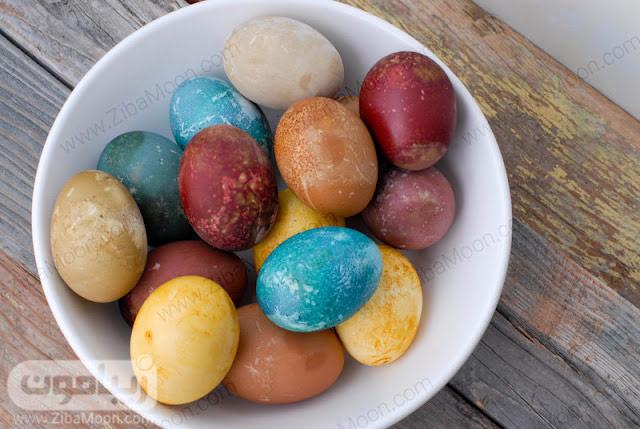 تخم مرغ رنگی با رنگ های طبیعی
