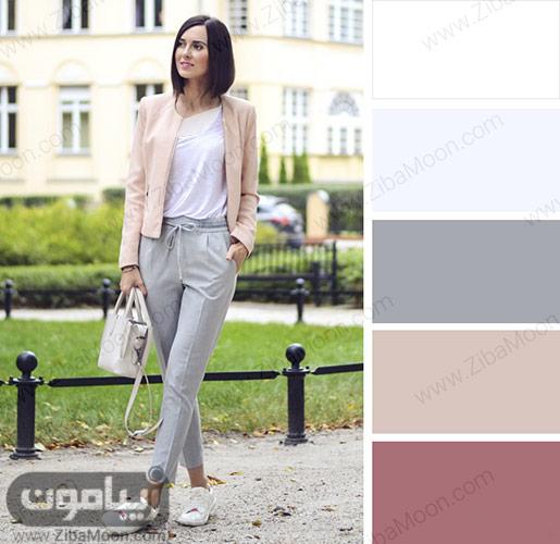 ترکیب رنگ  مناسب با لباس خاکستری