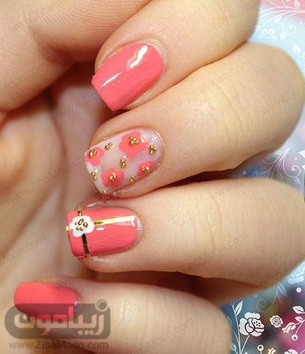 طراحی ناخن گل دار