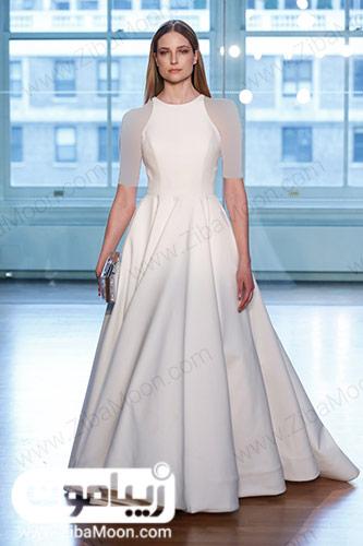 لباس عروس ساده با یقه هالتری و دامن ای لاین
