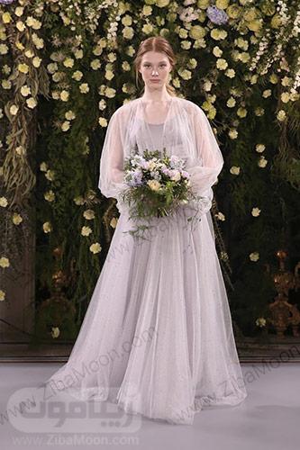 لباس عروس تمام حریری لاوندر