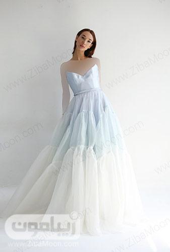 لباس عروس آمبره آبی روشن با دامن چند طبقه