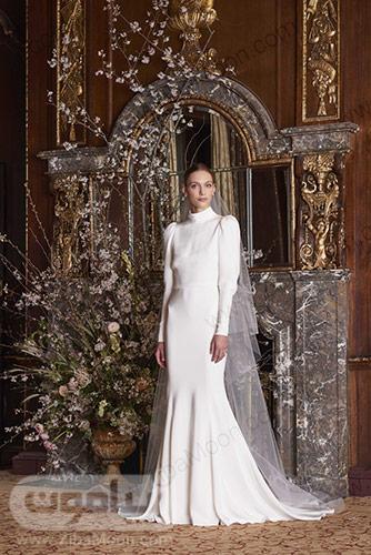 لباس عروس آستین بلند با یقه بسته و دم ماهی