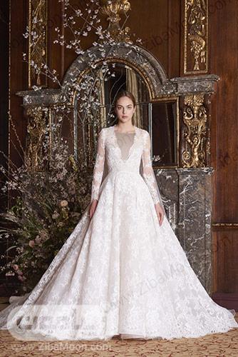 لباس عروس با دامن گیپوری و ای لاین کشیده