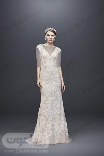 لباس عروس راسته با سنگدوزی و رنگ شیری