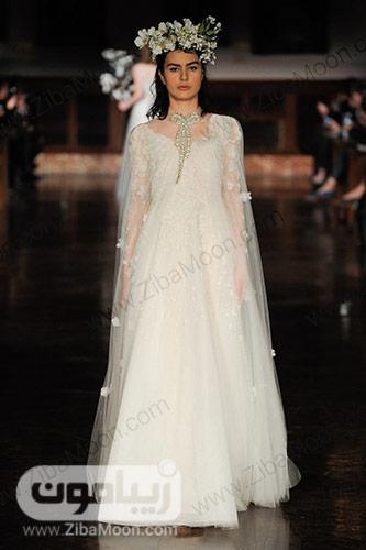 لباس عروس ساده با تور گلدار