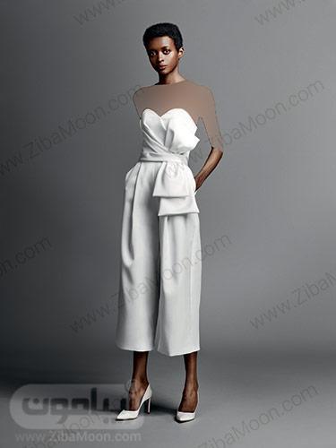لباس عروس بلوز شلواری سفید ساده