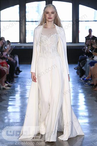 لباس عروس بلوز شلواری ساده با کت بلند سفید