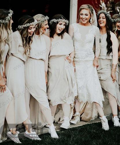 استایل عروس و ساقدوشها با کتانی