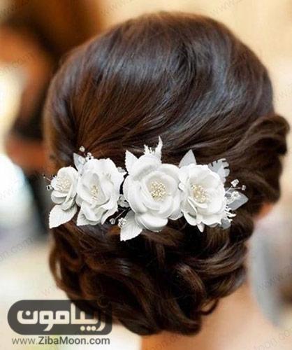 شینیون مو با گل سفید