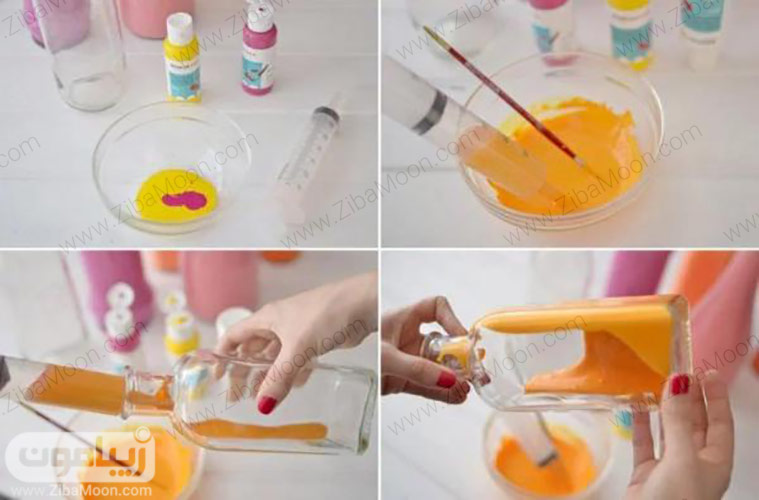 رنگ کردن بطری از داخل