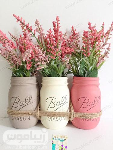 استفاده از بطری رنگ شده به عنوان گلدان