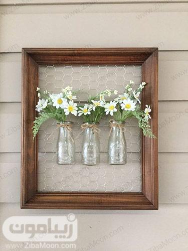استفاده از شیشه شیر به عنوان گلدان