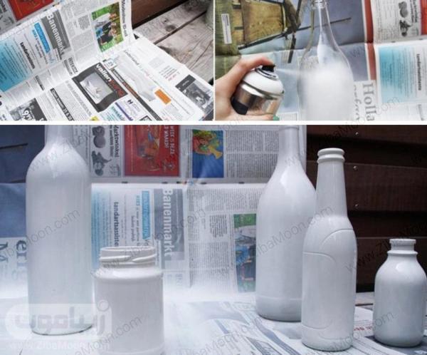 رنگ کردن بطری با اسپری رنگ