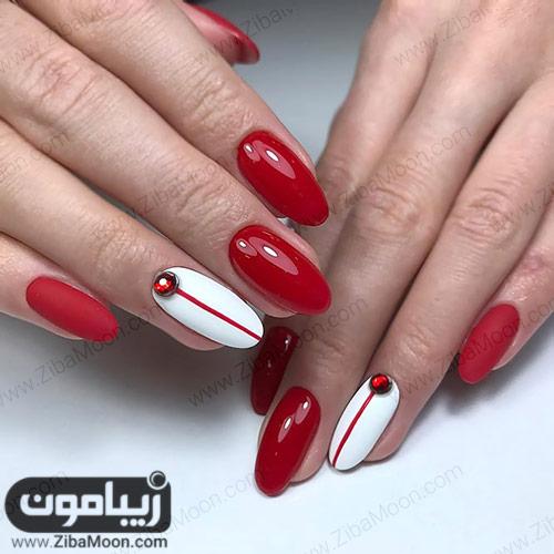 مدل دیزاین ناخن زیبا و ساده با لاک قرمز و سفید