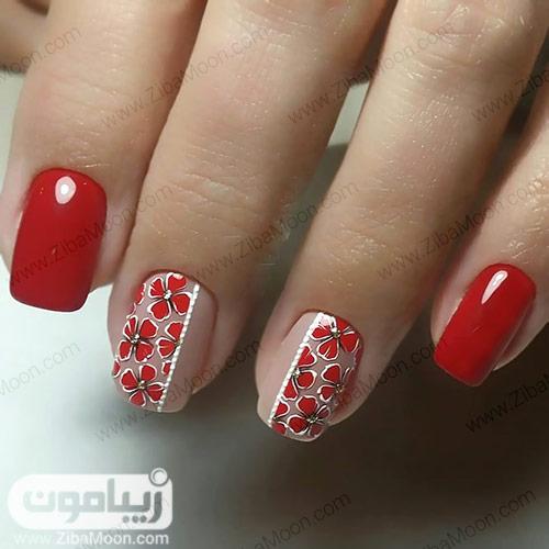 مدل ناخن گلدار شیک با لاک قرمز