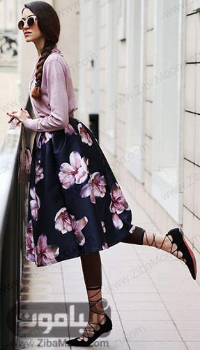 استایل بهاری با دامن گلدار زیبا و خاص