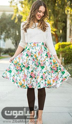 مدل لباس دخترانه بهاری با شومیز سفید و دامن گلدار شیک