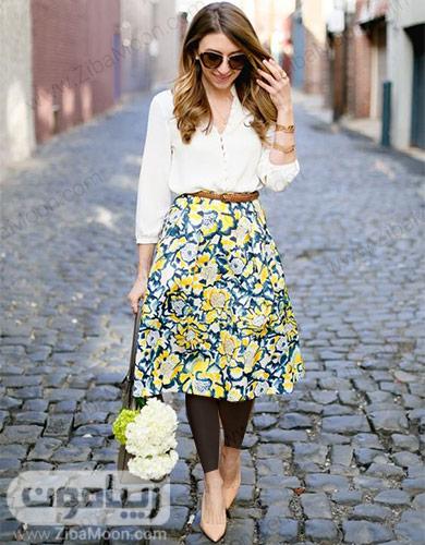 استایل خاص و زیبا با لباس سفید و دامن گلدار سورمه ای زرد