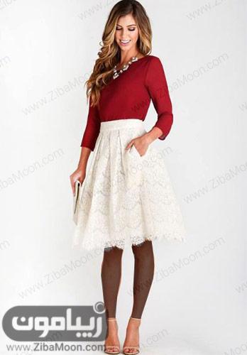استایل شیک با لباس زرشکی و دامن کوتاه سفید گیپوری