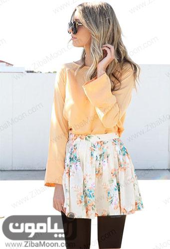 استایل شیک دخترانه با شومیز گلبهی و دامن کوتاه گلدار