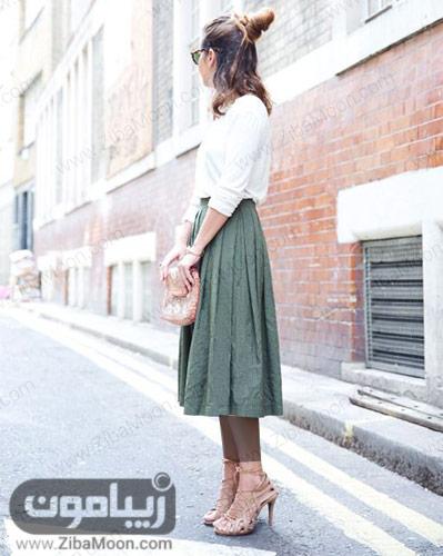 مدل لباس زیبا با دان چین دار سبز یشمی و لباس سفید