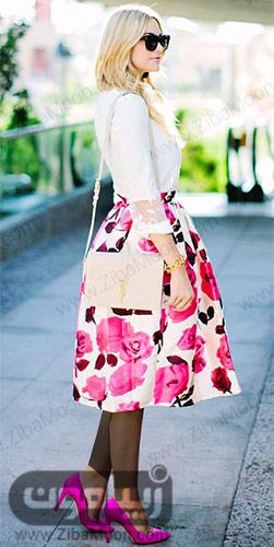 مدل لباس دخترانه شیک با دامن گلدار صورتی و بهاری