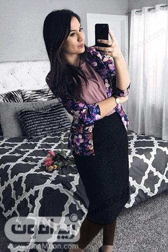 استایل شیک با دامن کوتاه مشکی و کت گلدار