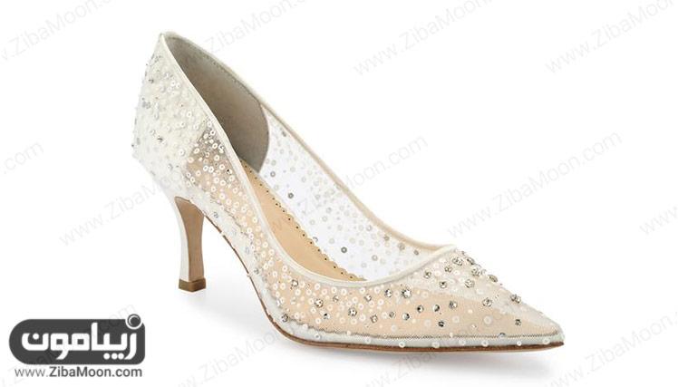 کفش سفید توری و کریستالی