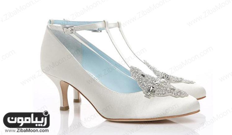 کفش سفید پاشنه کوتاه