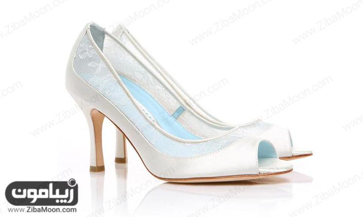 کفش عروس سفید و توری
