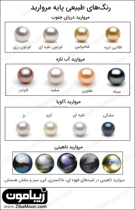رنگهای مرواریدها به صورت طبیعی