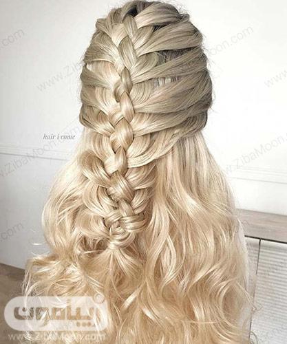 بافت مو شلوغ و زیبا روی موهای بلوند