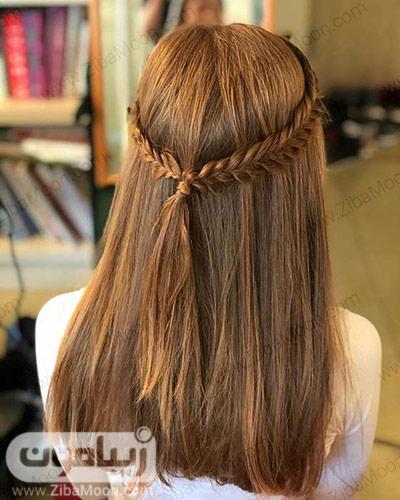 مدل بافت مو ساده دو طرفه روی موهای متوسط