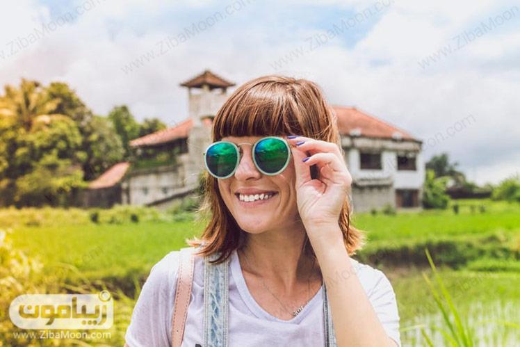 عینک آفتابی با شیشه رنگی و رفلکس