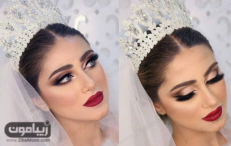 مدل آرایش عروس با لنز آبی