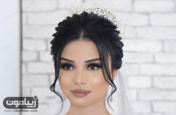 مدل آرایش عروس با مدل موی خطی