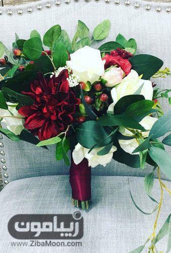 دسته گل عروس با گل به رنگ بورگاندی