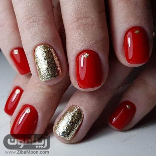مدل ناخن شیک با لاک قرمز و طلایی