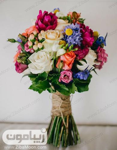 دسته گل رنگارنگ و جذاب برای عروس