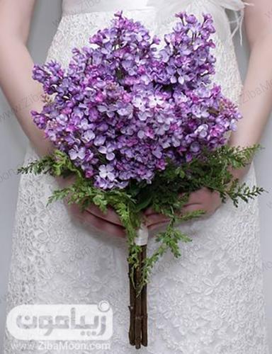 دسته گل عروس با گلهای بنفش و خاص