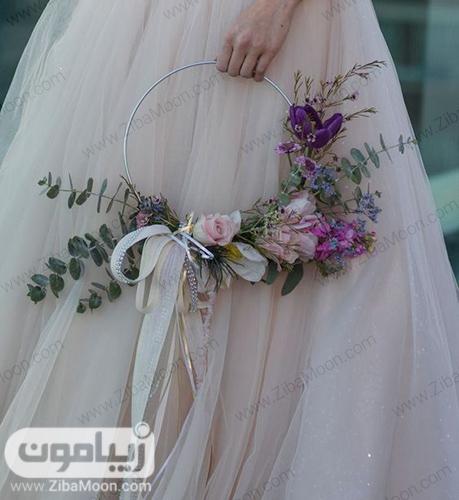دسته گل عروس اروپایی به شکل حلقه
