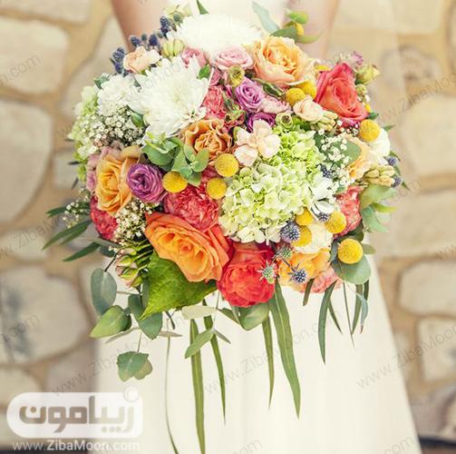 مدل دسته گل عروس با گلهای زرد و نارنجی