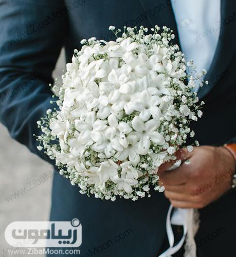 مدل دسته گل ساده عروس با گلهای سفید و ریز