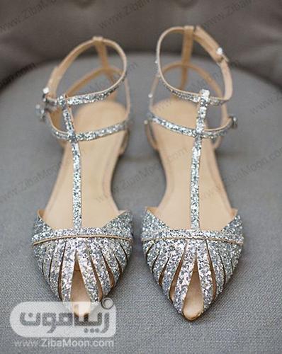 مدل کفش تخت عروس به رنگ نقره ای