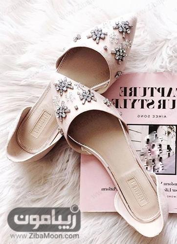 کفش تخت با نگین های شیشه ای