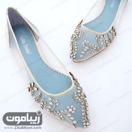 کفش عروس با نگین های کریستالی