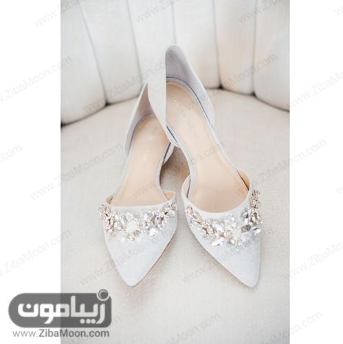 کفش عروس کفه تخت به رنگ آبی پاستیلی