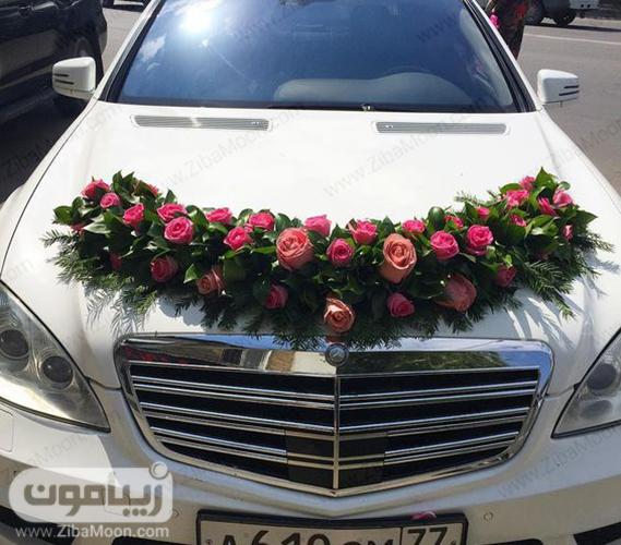 ماشین عروس با گل رز