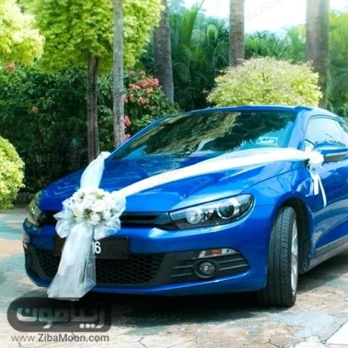 ماشین عروس ساده با تور و گل